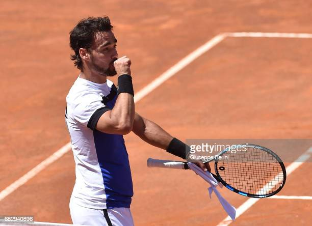Fabio Fognini of Italy celebrates the victory after the match between Fabio Fognini of Itally and Matteo Berrettini of Italy during The...