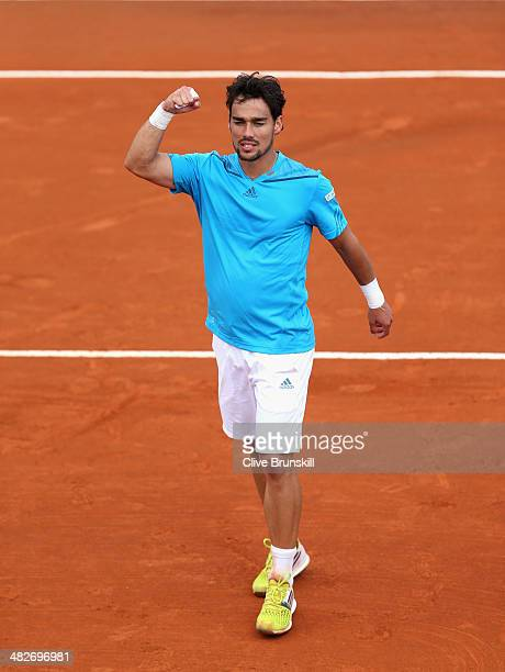 Fabio Fognini of Italy celebrates to the crowd after his four set victory against James Ward of Great Britain during day one of the Davis Cup World...