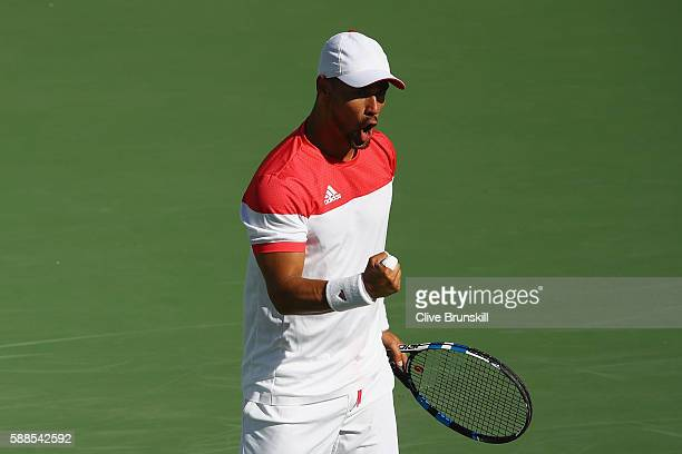 Fabio Fognini of Italy celebrates winning a point during the men's singles third round match against Andy Murray of Great Britain on Day 6 of the...