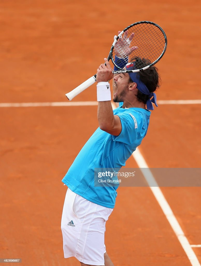 Fabio Fognini of Italy celebrates winning the third set against James Ward of Great Britain during day one of the Davis Cup World Group Quarter Final match between Italy and Great Britain at Tennis Club Napoli on April 4, 2014 in Naples, Italy.