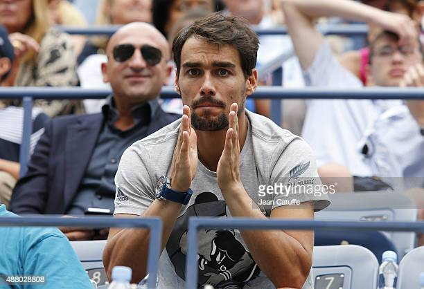 Fabio Fognini of Italy cheers for his fiancee Flavia Pennetta of Italy during the Women's Singles Final match on day thirteen of the 2015 US Open at...