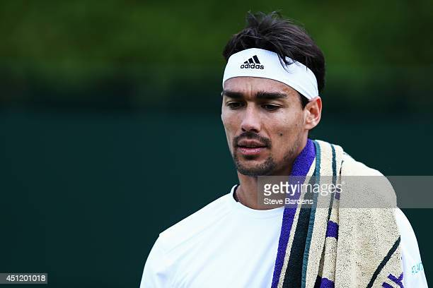 Fabio Fognini of Italy during his Gentlemen's Singles second round match against Tim Puetz of Germany on day three of the Wimbledon Lawn Tennis...