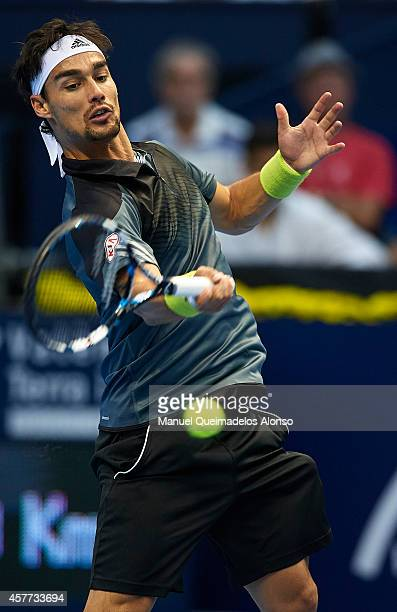 Fabio Fognini of Italy in action against Andy Murray of Great Britain during day four of the ATP 500 World Tour Valencia Open tennis tournament at...