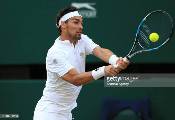Fabio Fognini of Italy in action against Andy Murray of Great Britain on day five of the 2017 Wimbledon Championships at the All England Lawn and...