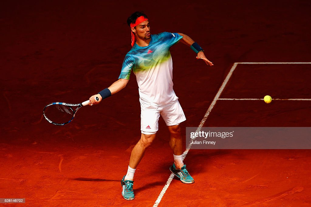 <a gi-track='captionPersonalityLinkClicked' href=/galleries/search?phrase=Fabio+Fognini&family=editorial&specificpeople=656601 ng-click='$event.stopPropagation()'>Fabio Fognini</a> of Italy in action against Kei Nishikori of Japan during day five of the Mutua Madrid Open tennis tournament at the Caja Magica on May 04, 2016 in Madrid, Spain.