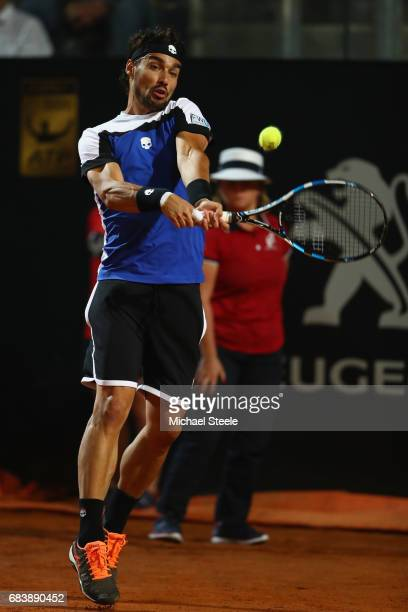 Fabio Fognini of Italy in action during his second round match against Andy Murray of Great Britain on Day Three of The Internazionali BNL d'Italia...