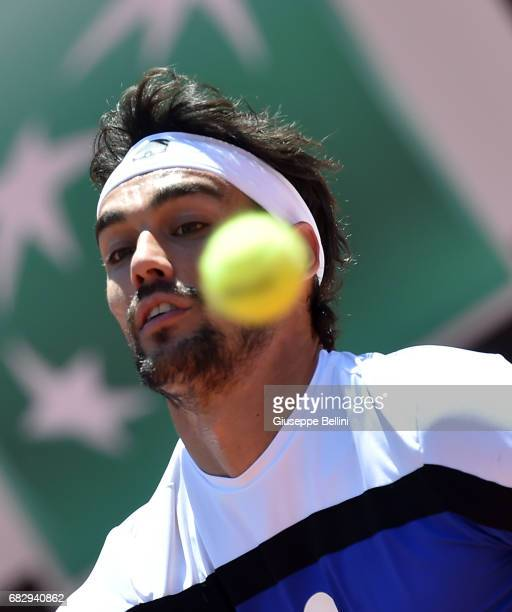 Fabio Fognini of Italy in action during the match between Fabio Fognini of Itally and Matteo Berrettini of Italy during The Internazionali BNL...
