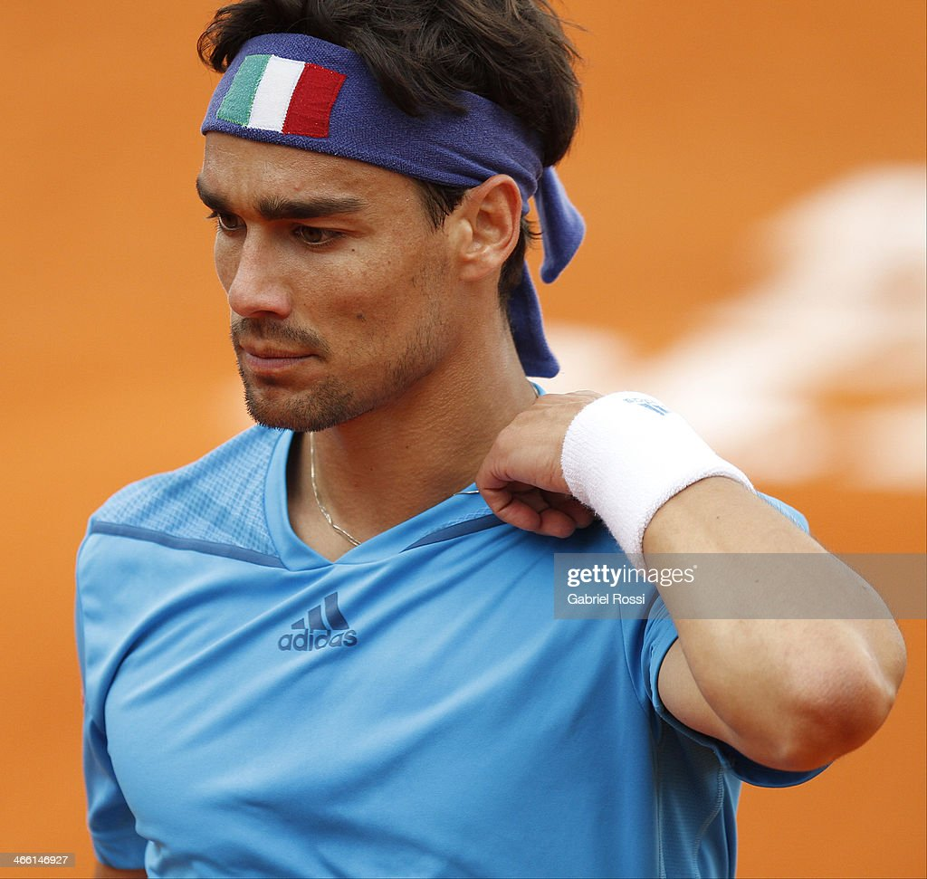 <a gi-track='captionPersonalityLinkClicked' href=/galleries/search?phrase=Fabio+Fognini&family=editorial&specificpeople=656601 ng-click='$event.stopPropagation()'>Fabio Fognini</a> of Italy looks on during a match between Argentina and Italy as part of the Davis Cup at Patinodromo Stadium on January 31, 2014 in Mar del Plata, Argentina.