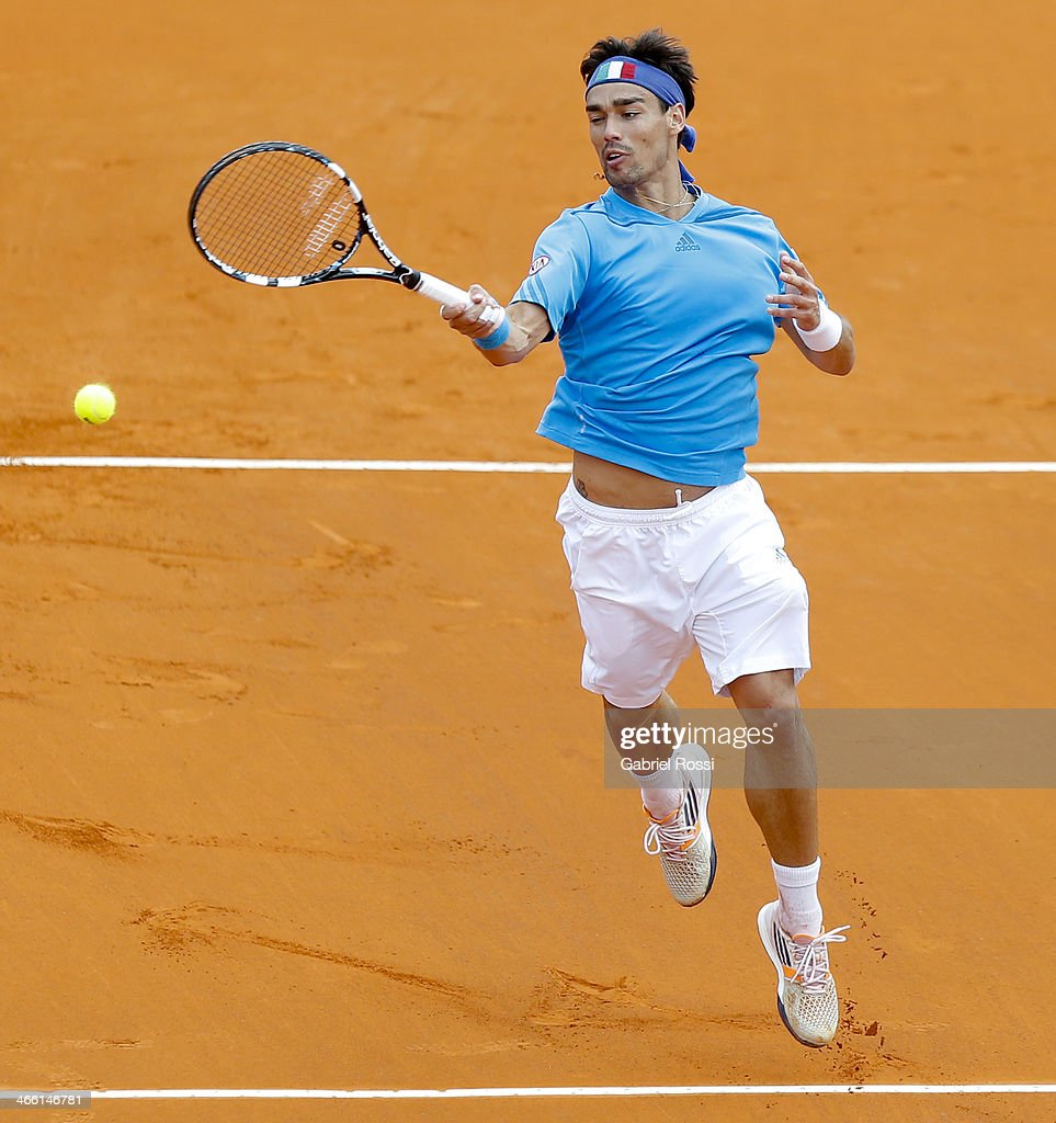 Fabio Fognini of Italy makes a shot during a match between Argentina and Italy as part of the Davis Cup at Patinodromo Stadium on January 31, 2014 in Mar del Plata, Argentina.