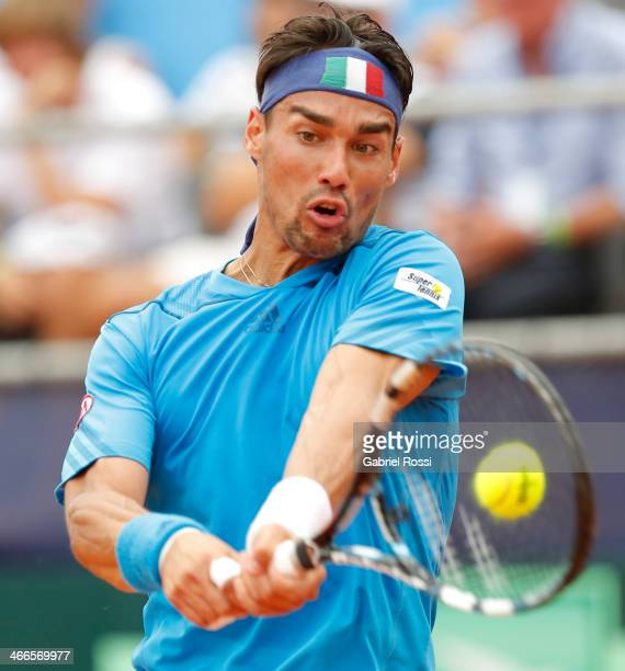 Fabio Fognini of Italy makes a shot during a match between Argentina and Italy as part of day 3 of the Davis Cup at Patinodromo Stadium on February...