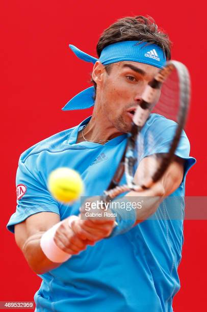 Fabio Fognini of Italy makes a shot during a tennis match between Tommy Robredo and Fabio Fognini as part of ATP Buenos Aires Copa Claro on February...