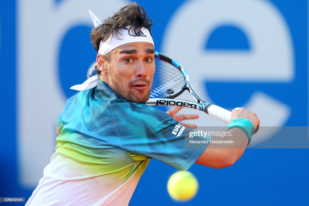 <a gi-track='captionPersonalityLinkClicked' href=/galleries/search?phrase=Fabio+Fognini&family=editorial&specificpeople=656601 ng-click='$event.stopPropagation()'>Fabio Fognini</a> of Italy plays a back hand during his quater final match against Jozef Kovalik of Slovakia of the BMW Open at Iphitos tennis club on April 29, 2016 in Munich, Germany.