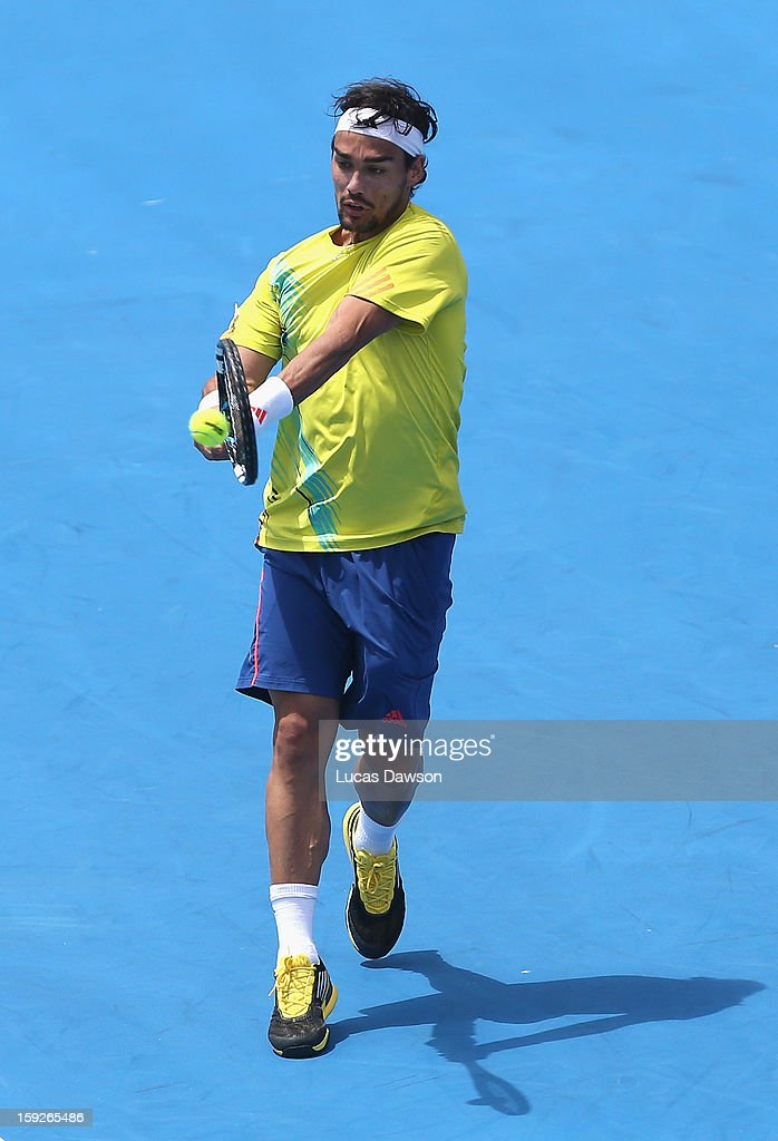 <a gi-track='captionPersonalityLinkClicked' href=/galleries/search?phrase=Fabio+Fognini&family=editorial&specificpeople=656601 ng-click='$event.stopPropagation()'>Fabio Fognini</a> of Italy plays a backhand during his match against Milos Raonic of Canada during day three of the AAMI Classic at Kooyong on January 11, 2013 in Melbourne, Australia.