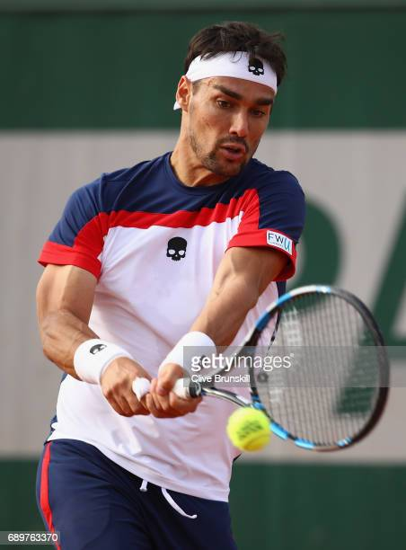 Fabio Fognini of Italy plays a backhand during the mens singles first round match against Frances Tiafoe of The United States on day two of the 2017...