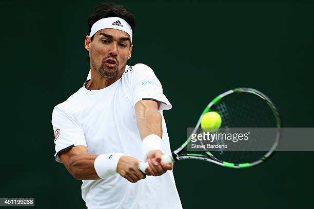 Fabio Fognini of Italy plays a backhand shot during his Gentlemen's Singles second round match against Tim Puetz of Germany on day three of the...
