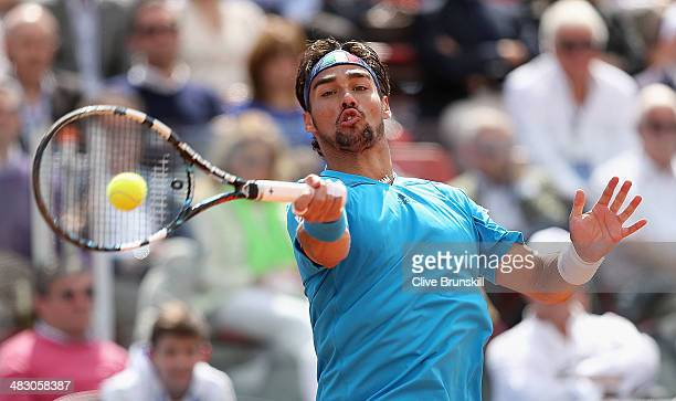 Fabio Fognini of Italy plays a forehand during his straight sets victory against Andy Murray of Great Britain during day three of the Davis Cup World...