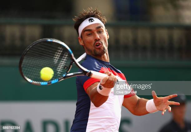Fabio Fognini of Italy plays a forehand during the mens singles first round match against Frances Tiafoe of The United States on day two of the 2017...