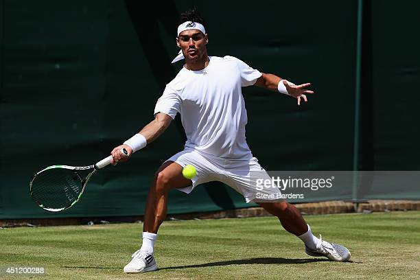 Fabio Fognini of Italy plays a forehand shot during his Gentlemen's Singles second round match against Tim Puetz of Germany on day three of the...