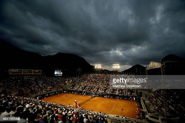 Fabio Fognini of Italy plays David Ferrer of Spain during the final of the Rio Open at the Jockey Club Brasileiro on February 22 2015 in Rio de...