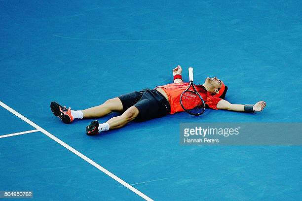 Fabio Fognini of Italy reacts after losing a point during the second round singles match against JoWilfried Tsonga of France during the 2016 ASB...