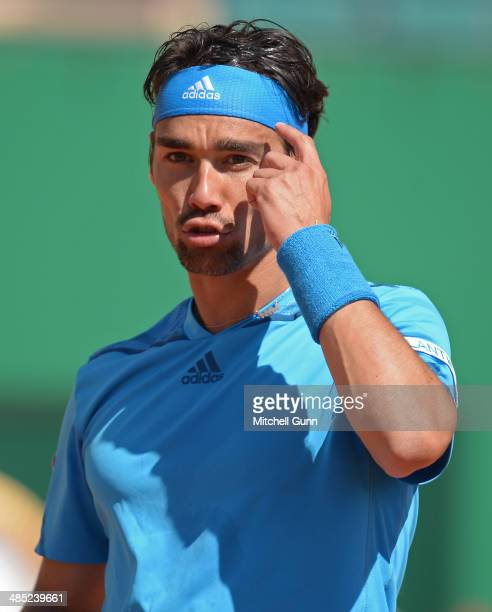 Fabio Fognini of Italy reacts after playing a shot against JoWilfried Tsonga of France during their third round match on day five of the ATP Monte...