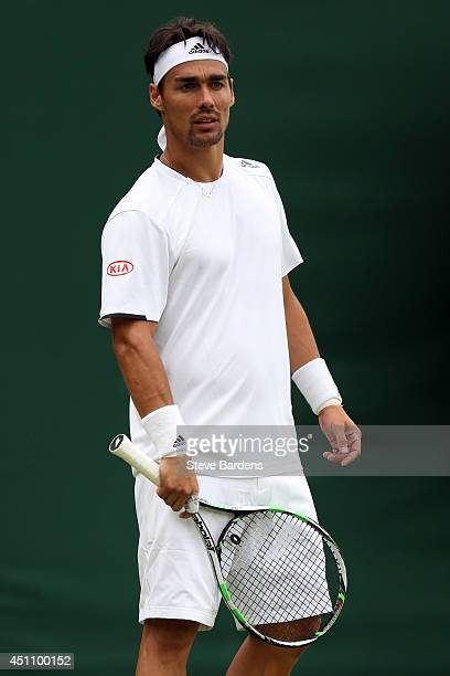 Fabio Fognini of Italy reacts during his Gentlemen's Singles first round match against Alex Kuznetsov of the United States on day one of the...