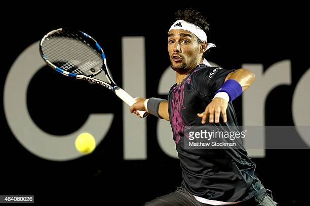Fabio Fognini of Italy returns a shot to Rafael Nadal of Spain during the Rio Open at the Jockey Club Brasileiro on February 21 2015 in Rio de...