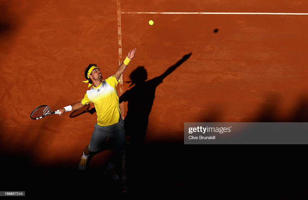 Fabio Fognini of Italy serves against Andreas Seppi of Italy in their first round match during day two of the Internazionali BNL d'Italia 2013 at the Foro Italico Tennis Centre on May 13, 2013 in Rome, Italy.