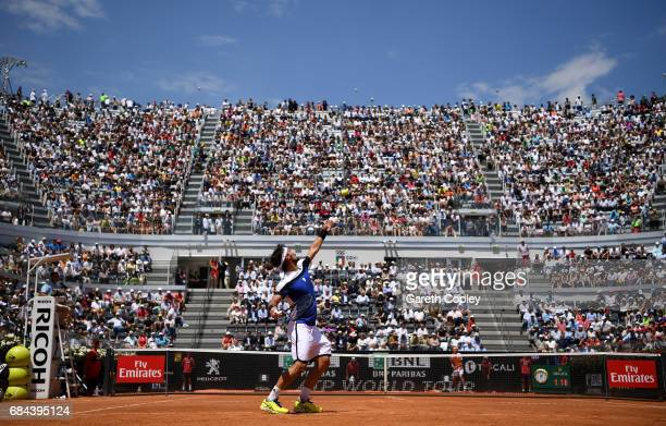 Fabio Fognini of Italy serves during his 3rd round match against Alexander Zverev of Germany in The Internazionali BNL d'Italia 2017 at Foro Italico...