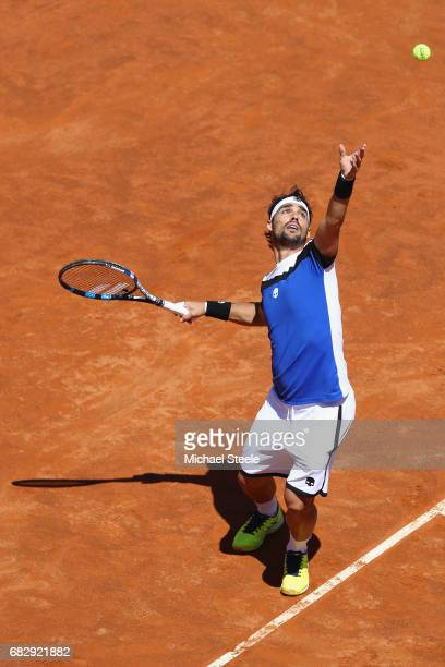Fabio Fognini of Italy serves during his forst round match against Matteo Berrettini of Italy on Day Two of The Internazionali BNL d'Italia 2017 at...