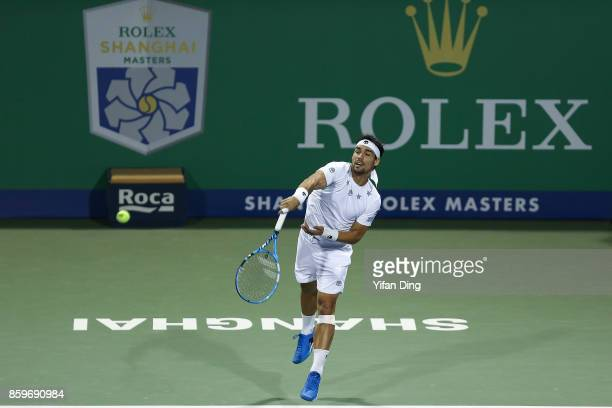 Fabio Fognini of Italy serves during the Men's singles mach against Lucas Pouille of France on day 3 of Shanghai Rolex Masters at Qi Zhong Tennis...