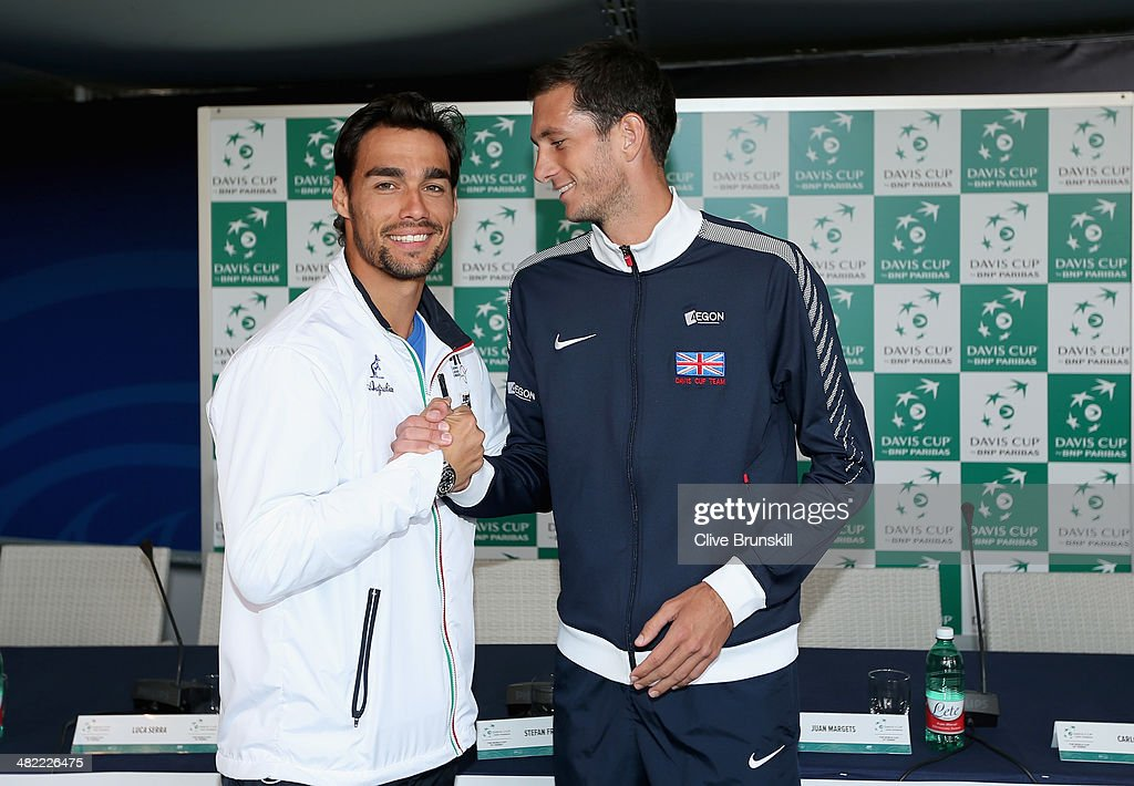 <a gi-track='captionPersonalityLinkClicked' href=/galleries/search?phrase=Fabio+Fognini&family=editorial&specificpeople=656601 ng-click='$event.stopPropagation()'>Fabio Fognini</a> of Italy shakes hands with James Ward of Great Britain after the draw ceremony prior to them playing the opening rubber tomorrow at Davis Cup World Group Quarter Final match between Italy and Great Britain at Tennis Club Napoli on April 3, 2014 in Naples, Italy.