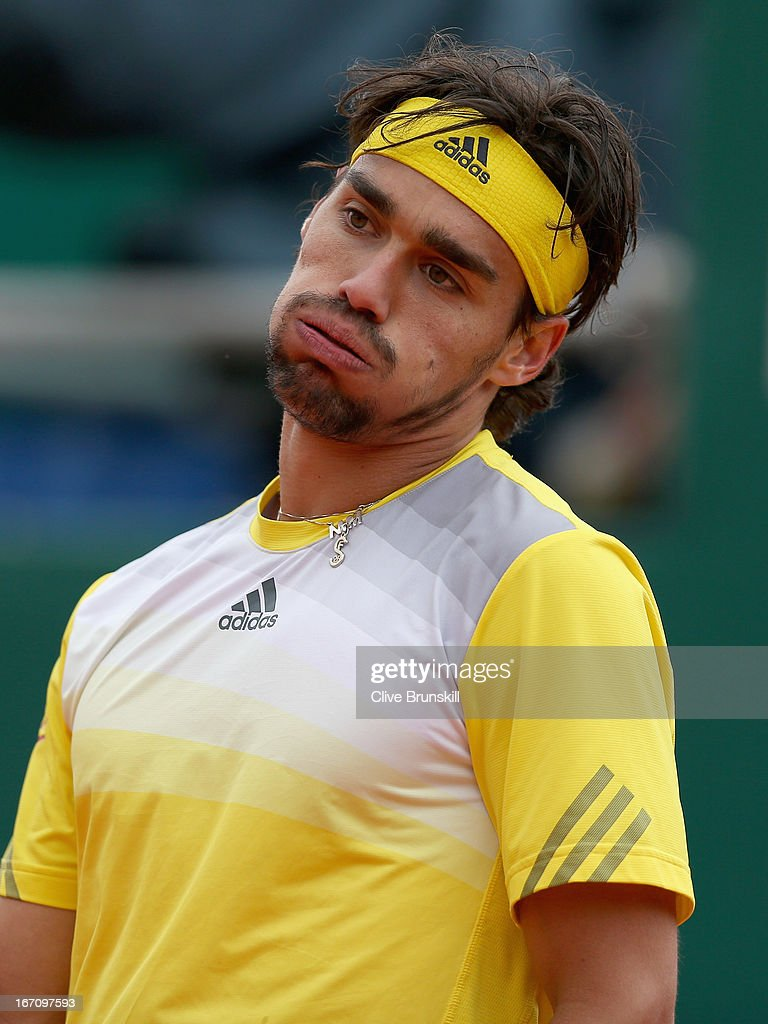 Fabio Fognini of Italy shows his emotions during his straight sets defeat against Novak Djokovic of Serbia in their semi final match during day seven of the ATP Monte Carlo Masters,at Monte-Carlo Sporting Club on April 20, 2013 in Monte-Carlo, Monaco.