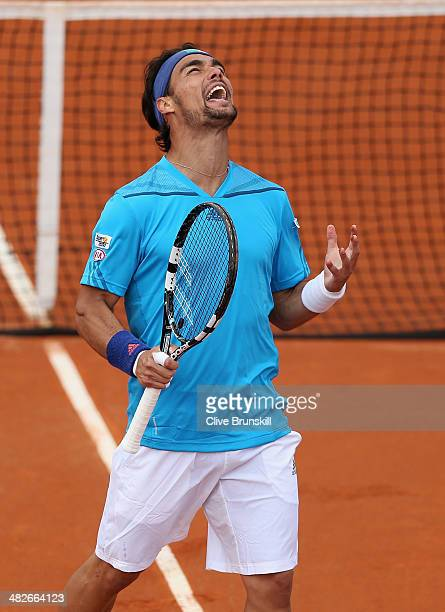 Fabio Fognini of Italy shows his frustration against James Ward of Great Britain during day one of the Davis Cup World Group Quarter Final match...
