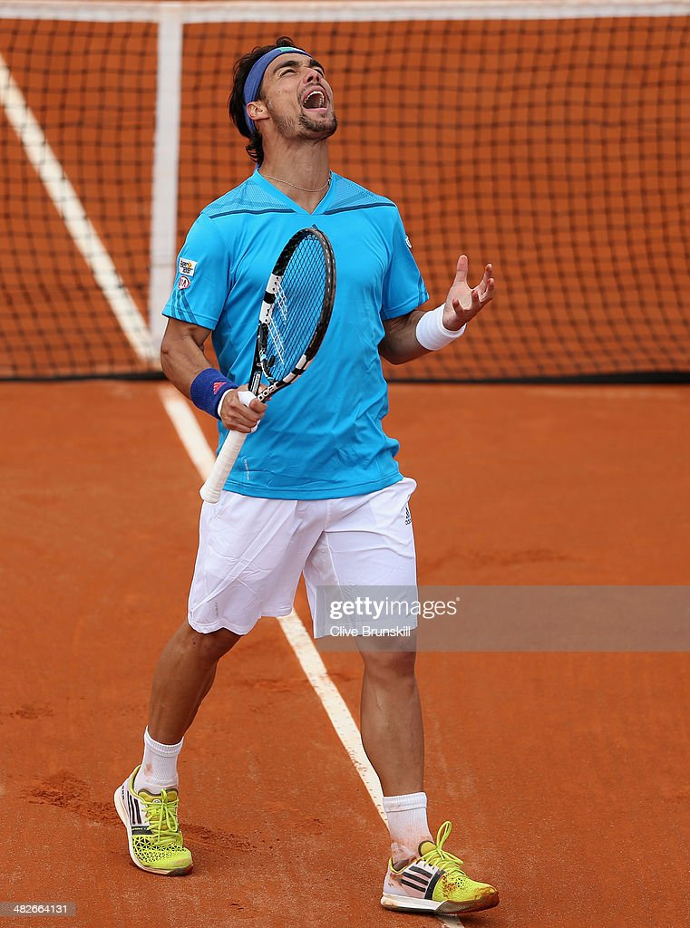 Fabio Fognini of Italy shows his frustration against James Ward of Great Britain during day one of the Davis Cup World Group Quarter Final match between Italy and Great Britain at Tennis Club Napoli on April 4, 2014 in Naples, Italy.