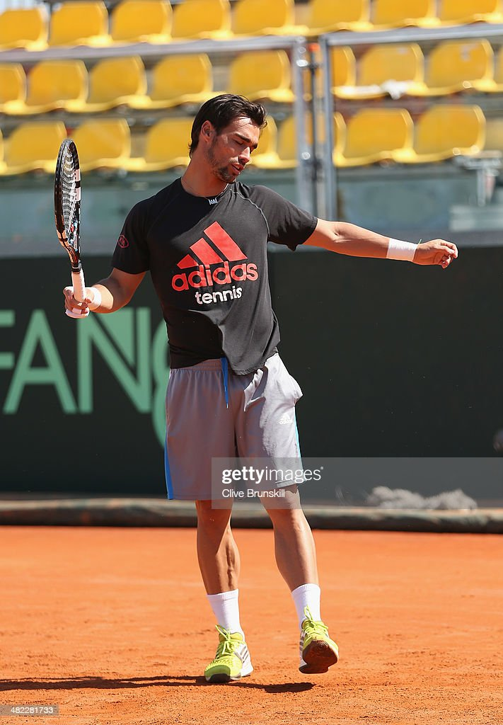 Fabio Fognini of Italy shows his frustrations during a practice session prior to the Davis Cup World Group Quarter Final match between Italy and Great Britain at Tennis Club Napoli on April 3, 2014 in Naples, Italy.