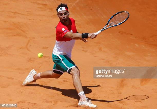 Fabio Fognini of Italy takes a backhand shot during a singles match as part of day 3 of the Davis Cup 1st round match between Argentina and Italy at...