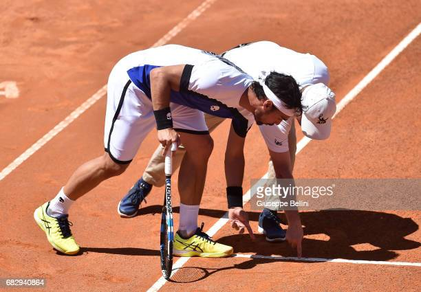 Fabio Fognini of Italy talks with the judge referee during the match between Fabio Fognini of Itally and Matteo Berrettini of Italy during The...