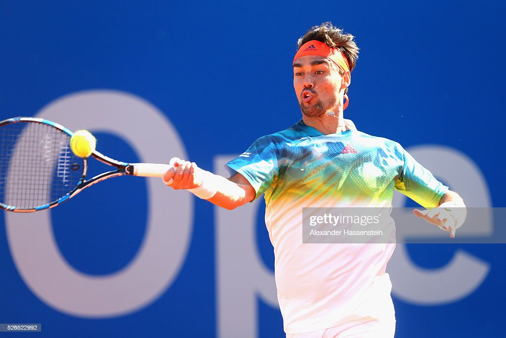 Fabio Fognini of Itlay plays a fore hand during his semi finale match against Philipp Kohlschreiber of Germany of the BMW Open at Iphitos tennis club on April 30, 2016 in Munich, Germany.