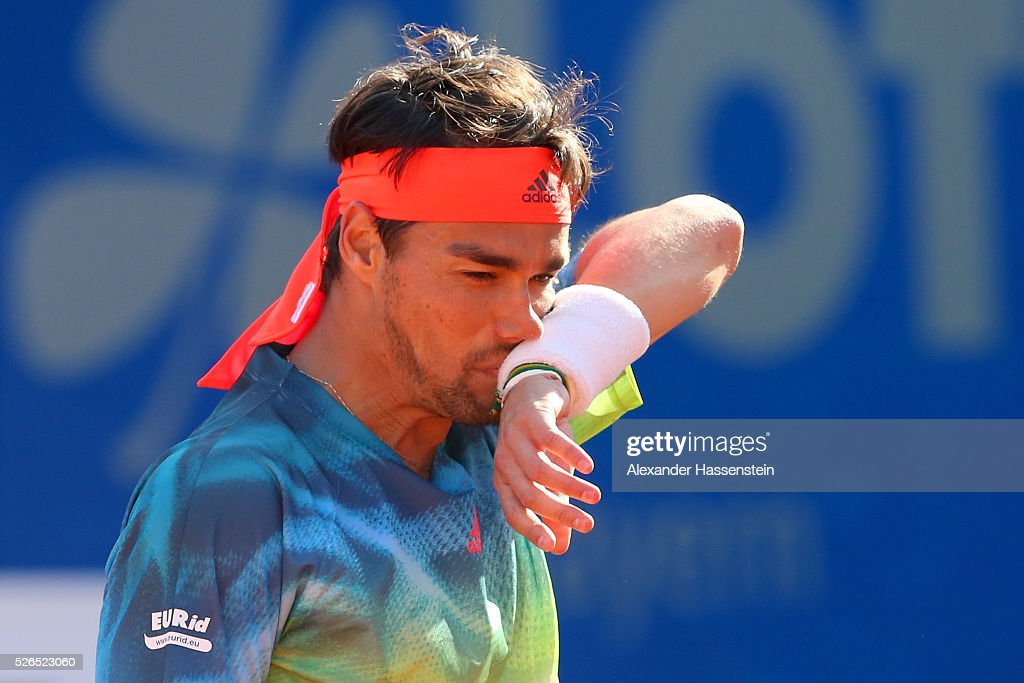 Fabio Fognini of Itlay reacts during his semi finale match against Philipp Kohlschreiber of Germany of the BMW Open at Iphitos tennis club on April 30, 2016 in Munich, Germany.