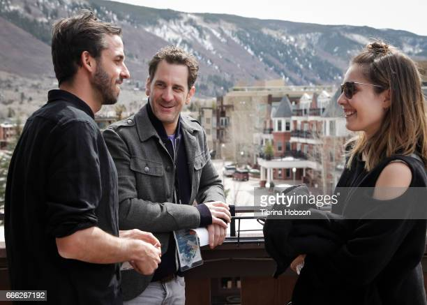 Fabio Friedli Aaron Abrams and Carly Pope attend the 2017 Aspen Shortsfest filmmakers breakout sessions on April 7 2017 at Mountain Chalet in Aspen...