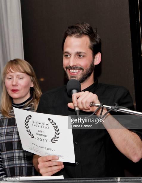 Fabio Friedli receives the award for best animation at the 2017 Aspen Shortsfest Awards Dinner on April 9 2017 at Aspen Kitchen in Aspen Colorado