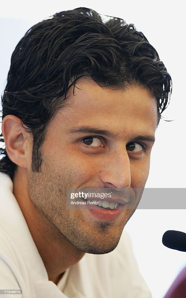 Fabio Grosso attends an Italy National Football Team press conference on July 01, 2006 in Duisburg, Germany.