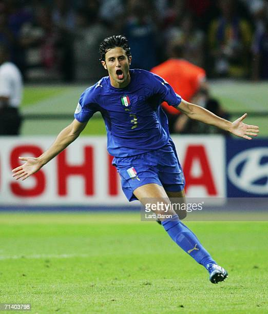 Fabio Grosso of Italy celebrates scoring the winning penalty in a penalty shootout at the end of the FIFA World Cup Germany 2006 Final match between...