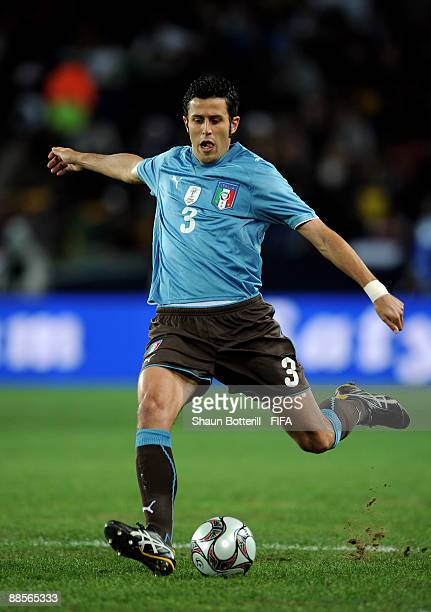 Fabio Grosso of Italy in action during the FIFA Confederations Cup Group A match between Egypt and Italy at the Ellis Park Stadium on June 18 2009 in...