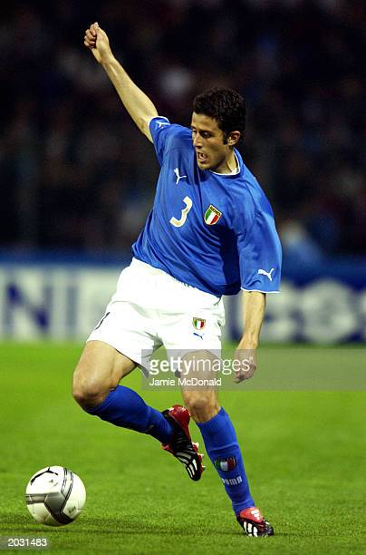 Fabio Grosso of Italy runs with the ball during the International Friendly match between Switzerland and Italy held on April 30 2003 at the Stade de...