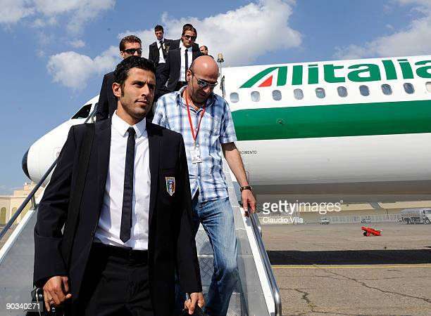 Fabio Grosso of Italy walks down the steps from Alitalia after arriving at Tbilisi on September 4 2009 in Tbilisi Georgia
