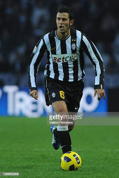 Fabio Grosso of Juventus FC in action during the Serie A match between Juventus FC and AC Cesena at Olimpico Stadium on November 7 2010 in Turin Italy