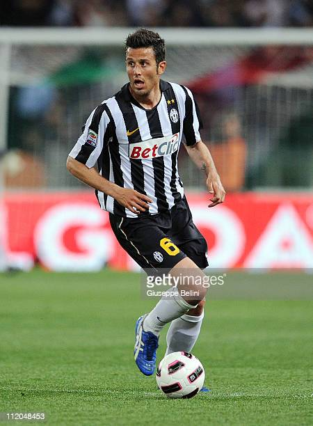 Fabio Grosso of Juventus in action during the Serie A match between AS Roma and Juventus FC at Stadio Olimpico on April 3 2011 in Rome Italy