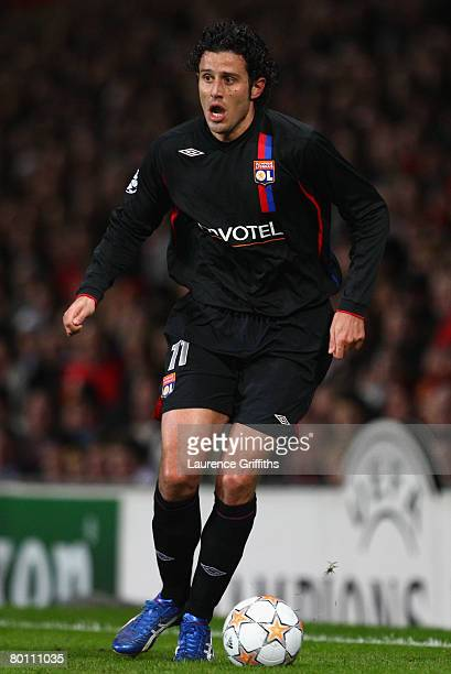 Fabio Grosso of Lyon in action during the UEFA Champions League first knockout round second leg match between Manchester United and Lyon at Old...